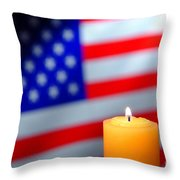 American Flag And Candle Throw Pillow by Olivier Le Queinec