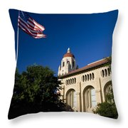 American Flag And Hoover Tower Stanford University Throw Pillow