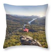 American Flag At Chimney Rock State Park North Carolina Throw Pillow