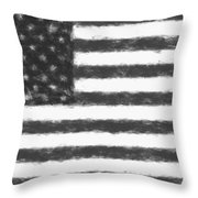 American Flag Charcoal Throw Pillow