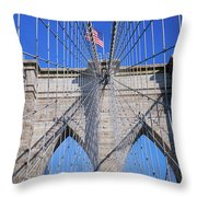 American Flag Flying Over Brooklyn Throw Pillow