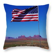 American Flag In Monument Valley Throw Pillow
