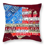 American Flag Map Of The United States In Vintage License Plates Throw Pillow