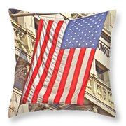 American Flag N.y.c 1 Throw Pillow