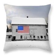 American Flag On A Pennsylvania Barn Throw Pillow