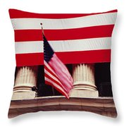 American Flag On The Front Throw Pillow