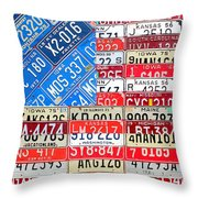 American Flag Recycled License Plate Art Throw Pillow