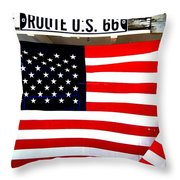 American Flag Route 66 Throw Pillow