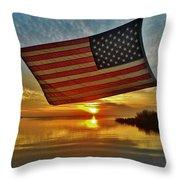 American Flag Sunset 14 2/18 Throw Pillow