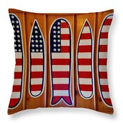 American Flag Surfboards Original Painting By Mark Lemmon Throw Pillow