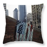 American Flag Tattered Throw Pillow