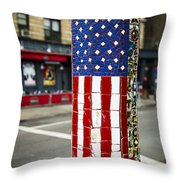 American Flag Tiles Throw Pillow