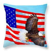 American Flag With Bald Eagle Throw Pillow