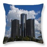 The Detroit Renaissance Center  Throw Pillow