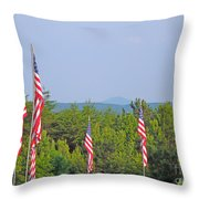 American Flags With Kennesaw Mountain In Background Throw Pillow