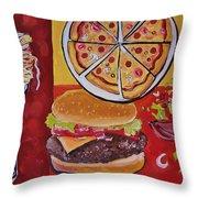 American Food Pop Art Throw Pillow