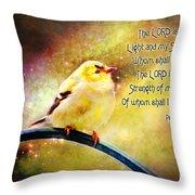 American Goldfinch Gazes Upward  - Series II  Digital Paint With Verse Throw Pillow
