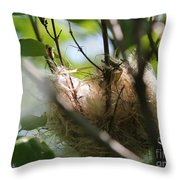 American Goldfinch Nest Under Construction Throw Pillow