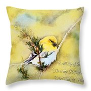 American Goldfinch On A Cedar Twig With Digital Paint And Verse Throw Pillow