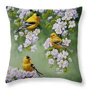 American Goldfinches And Apple Blossoms Throw Pillow