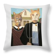 American Gothic Cat Throw Pillow