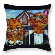 American Gothic Cats - A Parody Throw Pillow