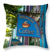 American Gothic Coffee Throw Pillow