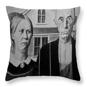 American Gothic In Black And White 1 Throw Pillow