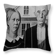 American Gothic In Black And White Throw Pillow