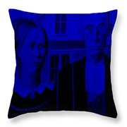 American Gothic In Blue Throw Pillow