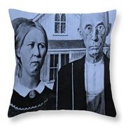 American Gothic In Cyan Throw Pillow