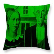 American Gothic In Green Throw Pillow