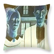 American Gothic In Negative Throw Pillow