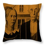 American Gothic In Orange Throw Pillow
