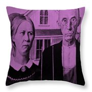 American Gothic In Pink Throw Pillow