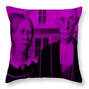American Gothic In Purple Throw Pillow