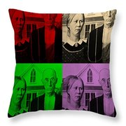 American Gothic In Quad Colors Throw Pillow