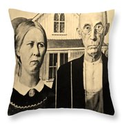 American Gothic In Sepia Throw Pillow