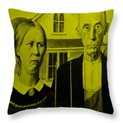 American Gothic In Yellow Throw Pillow