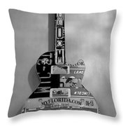American Guitar In Black And White Throw Pillow