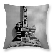 American Guitar In Black And White1 Throw Pillow