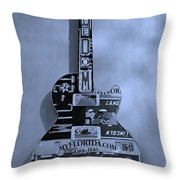 American Guitar In Cyan Throw Pillow