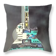 American Guitar In Neagtive Throw Pillow