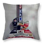 American Guitar Throw Pillow