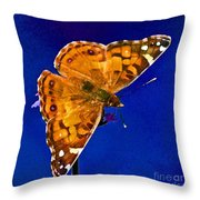 American Lady Butterfly Blue Square Throw Pillow