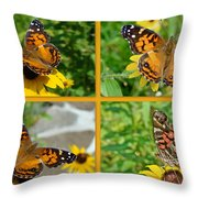 American Lady Butterfly - Vanessa Virginiensis Throw Pillow