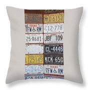 American License Plates Throw Pillow