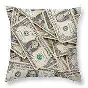 American One Dollar Bills Throw Pillow