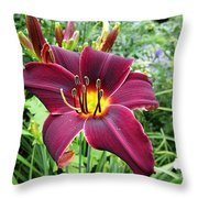 American Revolution Daylily Throw Pillow