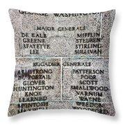 American Revolutionary War Generals Throw Pillow
